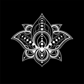 Lotus-bloem met geometrische ornament vector lineaire illustratie