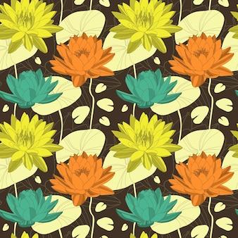 Lotus-bloemen in naadloos patroon