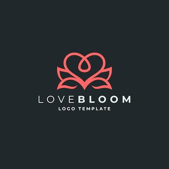 Lotus en hart logo sjabloon