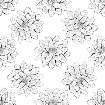 Lotus-het naadloze patroon van het leliewater