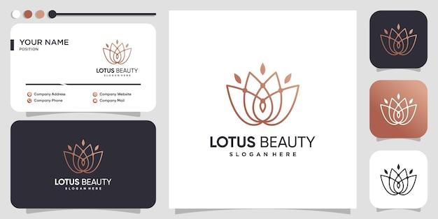 Lotus-logo-ontwerp met creatieve lijnstijl premium vector
