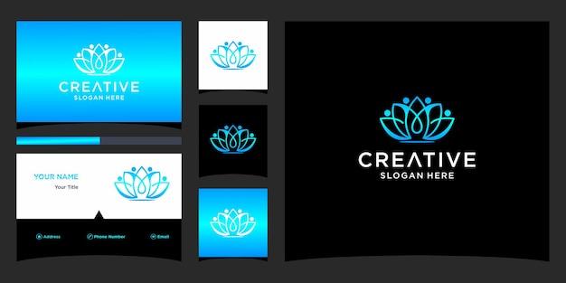 Lotus-logo-ontwerp met sjabloon voor visitekaartjes
