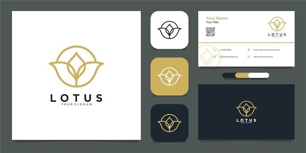 Lotus logo ontwerpsjabloon en visitekaartje premium vector