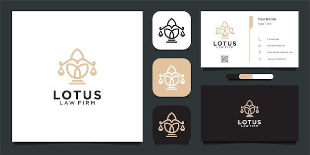 Lotus met advocatenkantoor logo ontwerpsjabloon en visitekaartje