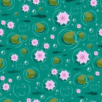 Lotus naadloos patroon.