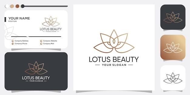 Lotus schoonheid logo idee met gouden lijnconcept premium vector