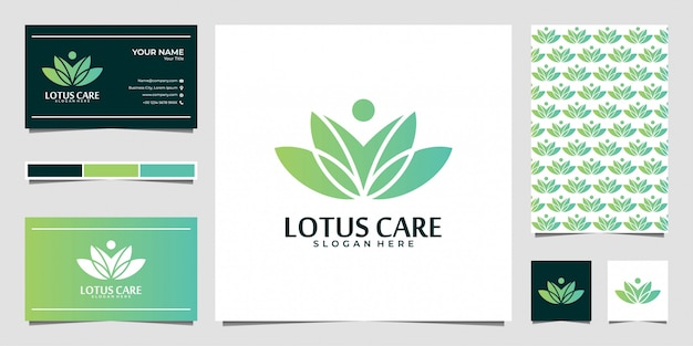 Lotus zorg logo ontwerp en visitekaartje