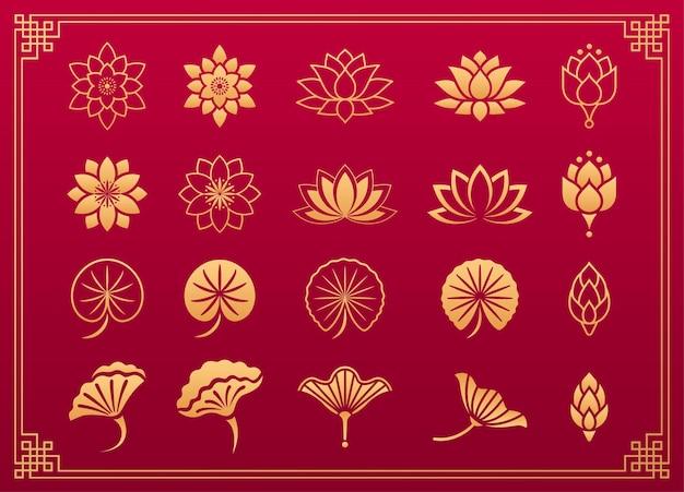 Lotusbloem aziatisch ornament chinese en japanse gouden ornamenten van lotusbloembladeren en bloesem