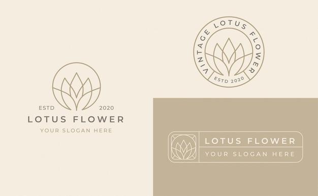 Lotusbloem badge logo ontwerp