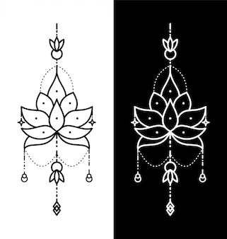 Lotusbloem geometrische tatoeage