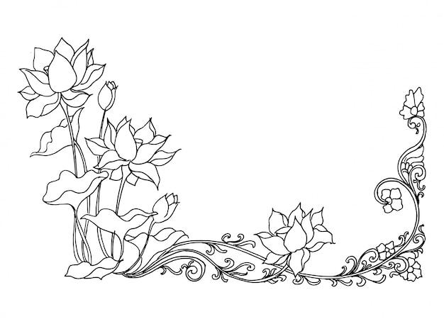 Lotusbloem, hand getrokken bloemen schets