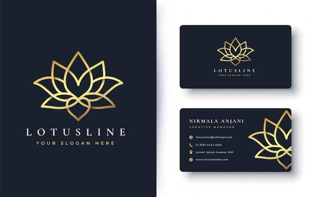 Lotusbloem logo en visitekaartje ontwerp