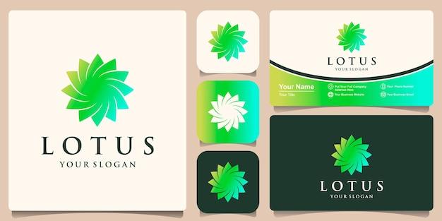 Lotusbloem logo ontwerp inspiratie en visitekaartje