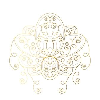 Lotusbloem met geometrische gouden sieraad lineaire vectorillustratie. oosters heilig symbool