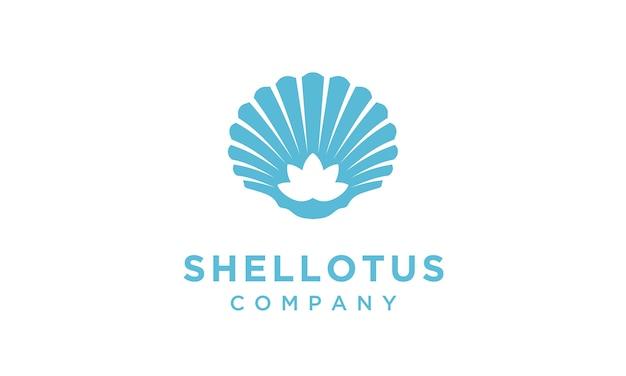Lotusbloem met logo-ontwerp met schelpdieren