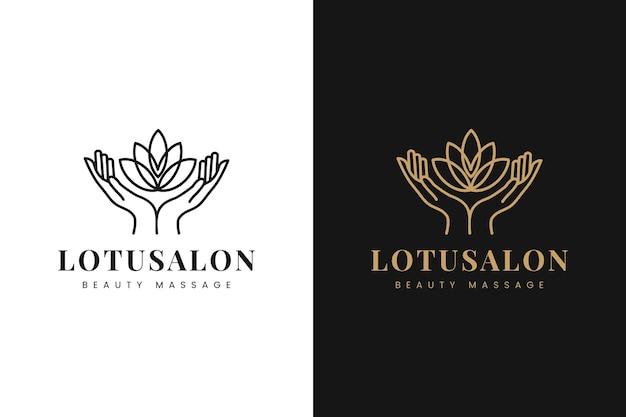 Lotusbloem met menselijke handen logo ontwerpsjabloon