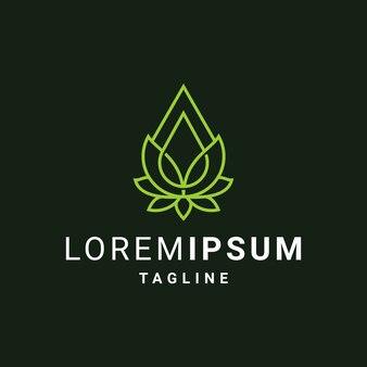 Lotusbloem met olie of waterdruppels logo sjabloon