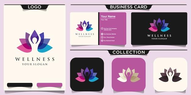 Lotusbloemlogo gecombineerd menselijk silhouetlogo-ontwerp en visitekaartjeontwerp