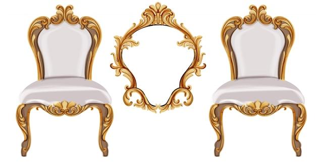Louis xvi-stijl stoel met gouden neoklassieke ornamenten