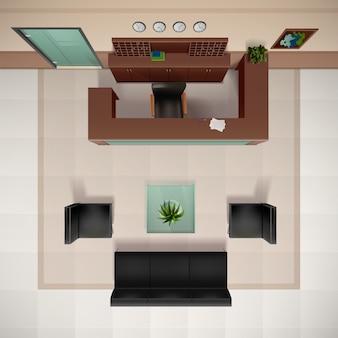 Lounge-bovenaanzicht realistische achtergrond met stoelen en bank vectorillustratie