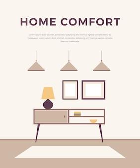 Lounge concept interieur met klassiek, modern meubilair: lampen, nachtkastjes, foto's. , minimalistische stijl. huis interieur ontwerp.