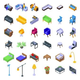 Lounge pictogrammen instellen. isometrische set van lounge vector iconen voor webdesign geïsoleerd op een witte achtergrond