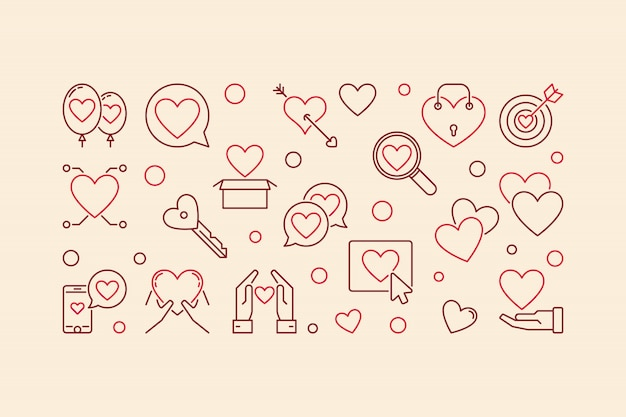Love addiction vector creatieve lineaire banner