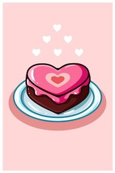 Love cake valentijn cartoon afbeelding