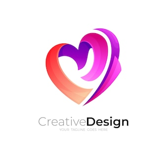 Love care-logo met social design community, liefdadigheidspictogram
