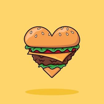 Love cheese burger cartoon vector