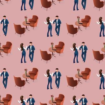 Love couple dating bij restaurant naadloos patroon