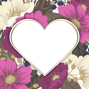 Love flower frame valentines day
