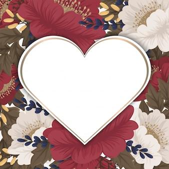 Love flower frame valentines day