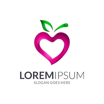 Love fruit logo concept