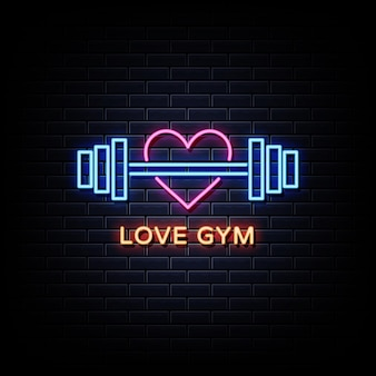 Love gym neon signs style text