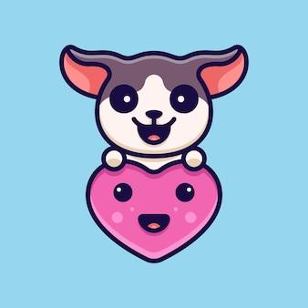 Love hond voor karakter icoon logo sticker en illustratie