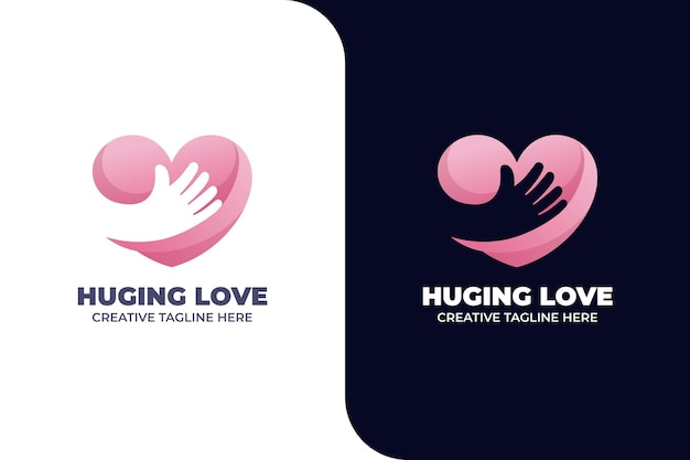 Love hug charity vriendschap gradiënt logo