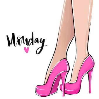 Love monday. vectormeisje in hoge hielen. mode illustratie. vrouwelijke benen in schoenen.
