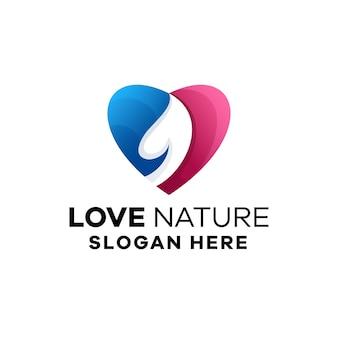 Love nature kleurrijke gradiënt logo sjabloon