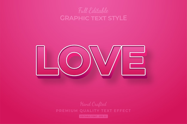 Love pink editable 3d text style effect