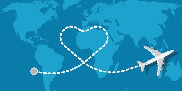 Love reizen vliegtuig vector illustratie bedrijf