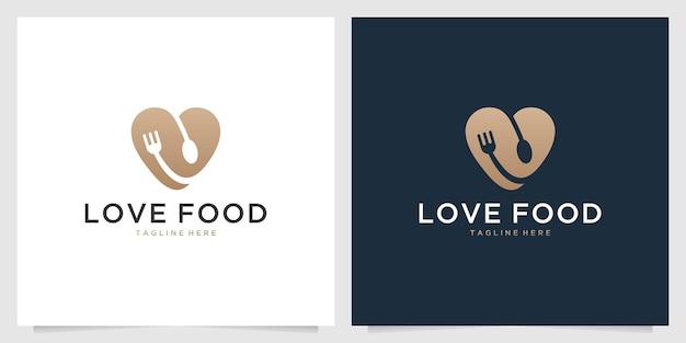 Love restaurant met lepel en vork logo-ontwerp