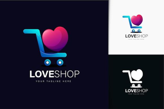 Love shop-logo-ontwerp met verloop