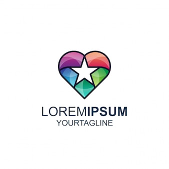 Love star line en color awesome inspiration-logo