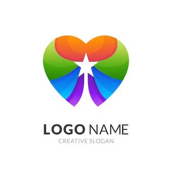 Love star-logo, liefde en ster, combinatie logo met 3d-kleurrijke stijl