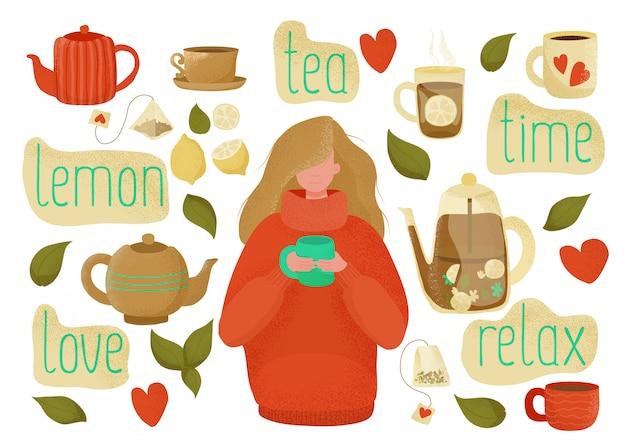 Love theeservies met theedrinkelementen - kopjes, theepotten, theezakje, citroenen en een meisje met een theemok. hand getrokken kleur vlakke afbeelding