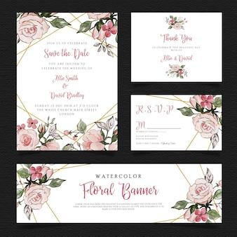 Love Valentine aquarel bloemen briefpapier kaarten Set