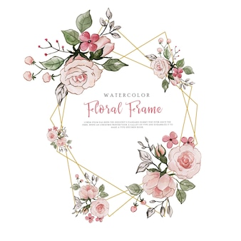 Love valentine aquarel bloemen frame