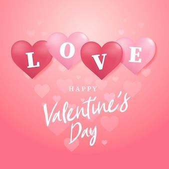 Love valentine's day ballon hart met tekst liefde wenskaart