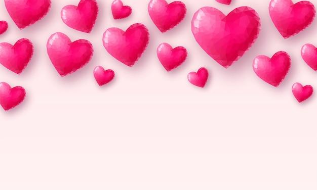 Love wallpaper roze kristallen hart op pastel achtergrond laag poly valentijnsdag illustratie